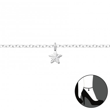 Star - 925 Sterling Silver Anklets for foot A4S35937