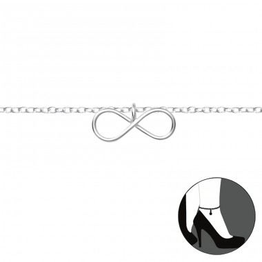 Infinity - 925 Sterling Silver Anklets for foot A4S36044