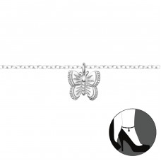 Butterfly - 925 Sterling Silver Anklets for foot A4S36047