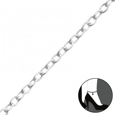 Silver Anklet 27cm Cable Chain With 3cm Extension Included - 925 Sterling Silver Anklets for foot A4S37089