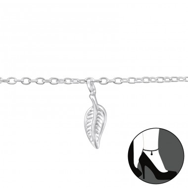 Leaf - 925 Sterling Silver Anklets for foot A4S37317
