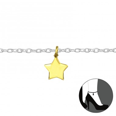 Star - 925 Sterling Silver Anklets for foot A4S39445
