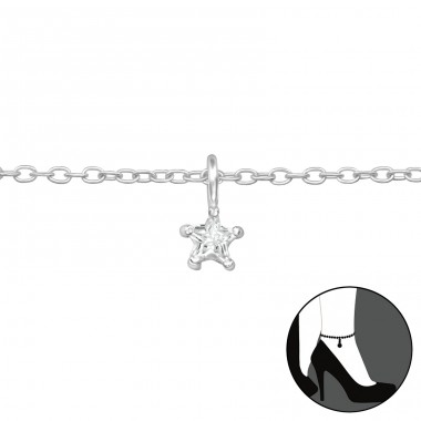 Star - 925 Sterling Silver Anklets for foot A4S39583
