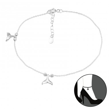 Whale - 925 Sterling Silver Anklets for foot A4S40639