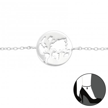 World - 925 Sterling Silver Anklets for foot A4S41149