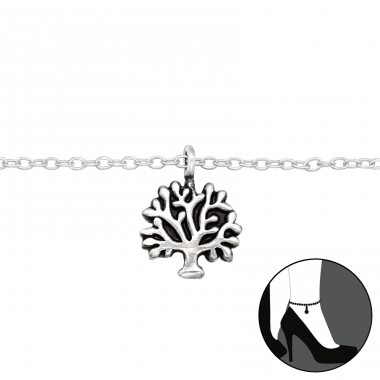 Tree Of Life - 925 Sterling Silver Anklets for foot A4S42501