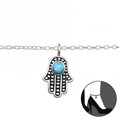 Hamsa with Opal - 925 Sterling Silver Anklets For Foot A4S42773
