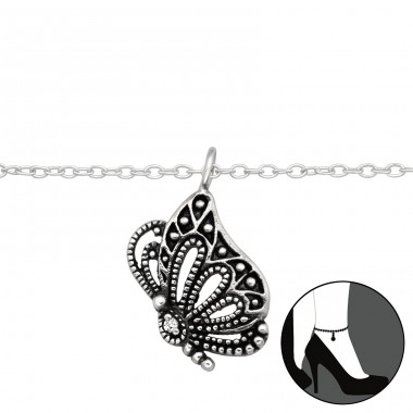 Butterfly - 925 Sterling Silver Anklets for foot A4S42823
