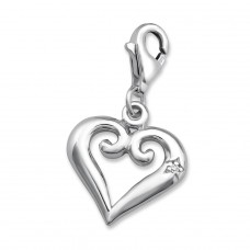 Heart - 925 Sterling Silver Charms with lobster A4S2812