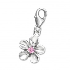 Flower - 925 Sterling Silver Charms with lobster A4S874