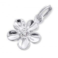 Flower - 925 Sterling Silver Charms with split ring A4S16060