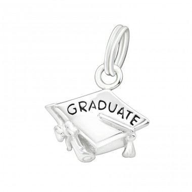 Graduate - 925 Sterling Silver Charms with split ring A4S16064