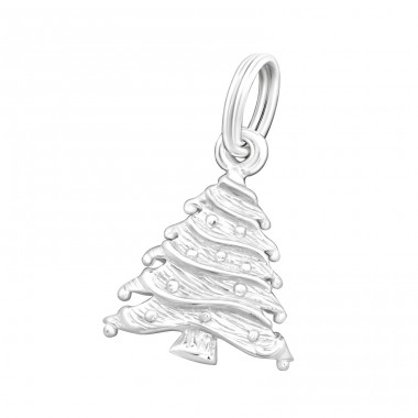 Christmas Tree - 925 Sterling Silver Charms with split ring A4S16235