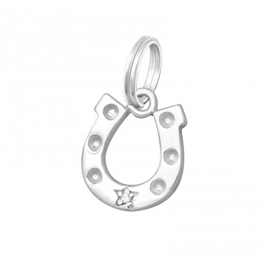 Horseshoe - 925 Sterling Silver Charms with split ring A4S16243