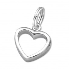 Heart - 925 Sterling Silver Charms with split ring A4S16312