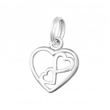 Heart - 925 Sterling Silver Charms with split ring A4S16993