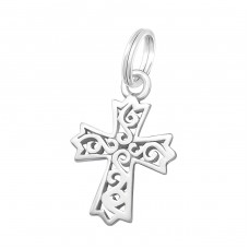 Cross - 925 Sterling Silver Charms with split ring A4S17510