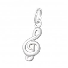 Treble Clef - 925 Sterling Silver Charms with split ring A4S19187