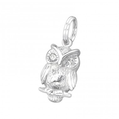 Owl - 925 Sterling Silver Charms with split ring A4S19525