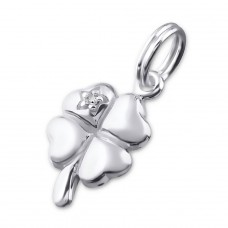 Shamrock - 925 Sterling Silver Charms with split ring A4S21762