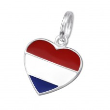 Netherlands Flag - 925 Sterling Silver Charms with split ring A4S28000