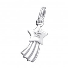 Shooting Star - 925 Sterling Silver Charms with split ring A4S29176