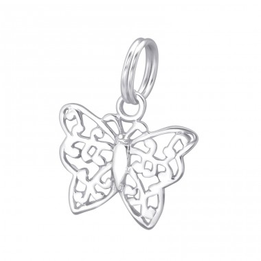 Butterfly - 925 Sterling Silver Charms with split ring A4S29279