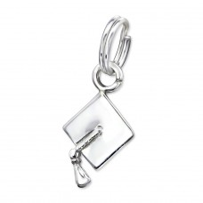 Graduation Hat - 925 Sterling Silver Charms with split ring A4S29292