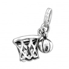 Basketball Net - 925 Sterling Silver Charms with split ring A4S29900