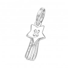Star - 925 Sterling Silver Charms with split ring A4S29908