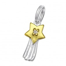 Star - 925 Sterling Silver Charms with split ring A4S29918