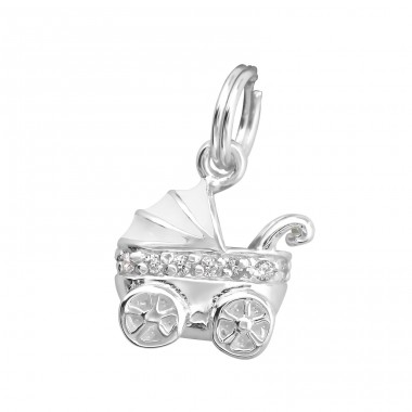 Baby Carriage - 925 Sterling Silver Charms with split ring A4S29949