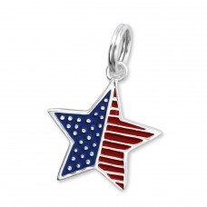 Star - 925 Sterling Silver Charms with split ring A4S29950