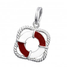Life Buoy - 925 Sterling Silver Charms with split ring A4S29952