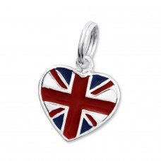 Uk Flag - 925 Sterling Silver Charms with split ring A4S29955