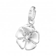 Flower - 925 Sterling Silver Charms with split ring A4S29956