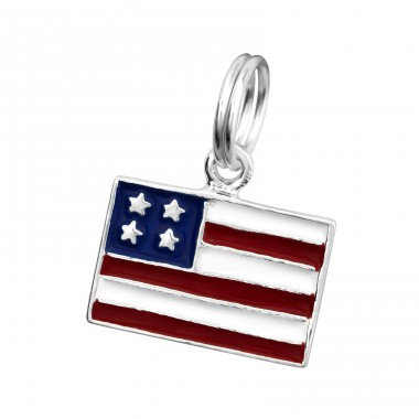 Usa Flag - 925 Sterling Silver Charms with split ring A4S29991