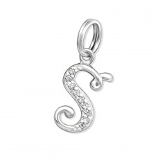 Letter S - 925 Sterling Silver Charms With Split Ring A4S30044
