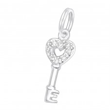 Key - 925 Sterling Silver Charms with split ring A4S30045