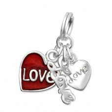 Love - 925 Sterling Silver Charms with split ring A4S30054