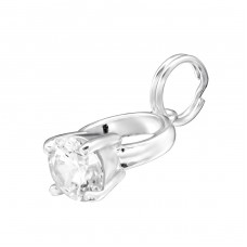 Diamond Ring - 925 Sterling Silver Charms with split ring A4S30062