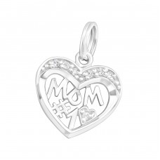 #1 Mom - 925 Sterling Silver Charms with split ring A4S30340