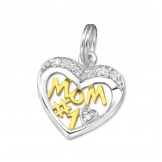 #1 Mom - 925 Sterling Silver Charms with split ring A4S31107