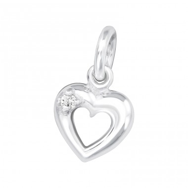 Heart - 925 Sterling Silver Charms with split ring A4S34611