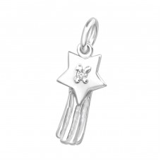 Star - 925 Sterling Silver Charms with split ring A4S34617