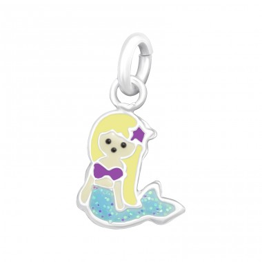 Mermaid - 925 Sterling Silver Charms with split ring A4S39403