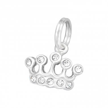 Crown - 925 Sterling Silver Charms with split ring A4S39431