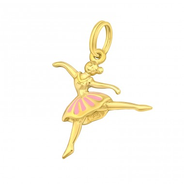 Golden pink Ballerina - 925 Sterling Silver Charms With Split Ring A4S42056