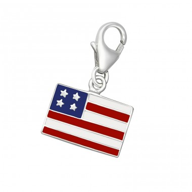 Usa Flag - 925 Sterling Silver Charms with lobster A4S10200