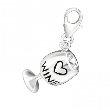 Wine Glass - 925 Sterling Silver Charms with lobster A4S11372